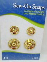 Dritz 4 Sew On Snaps Size 4 & 10 - Gold Toned