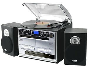 Music-System-Turntable-CD-Cassette-Retro-USB-Silver-Records-Separate-Speakers