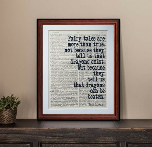 Neil Gaiman quote dictionary page art print wall poster antique gift dictionary