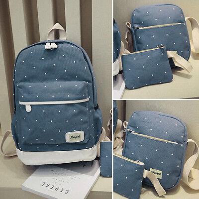 3Pcs Women Backpack Girl School Fashion Shoulder Bag Rucksack Canvas Travel Bags