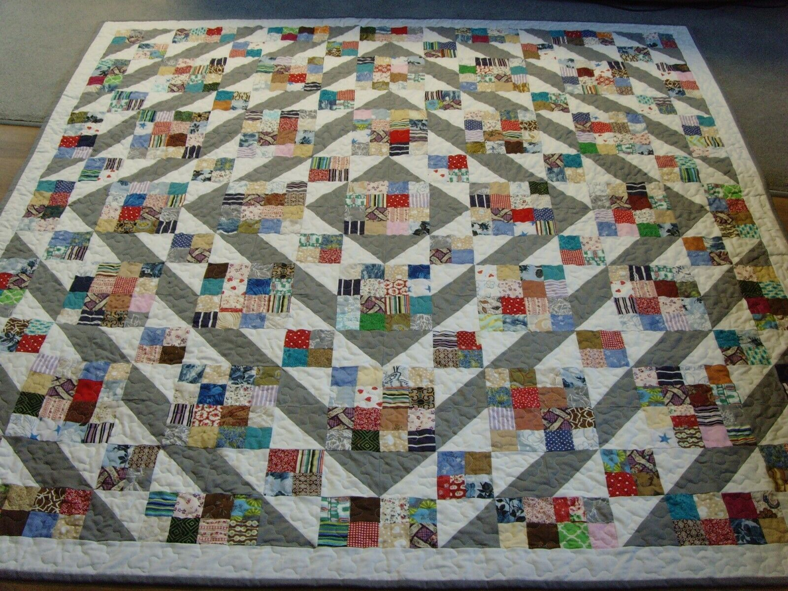 Handmade Large Größe Patchwork Quilted   Throw - 76  x 76