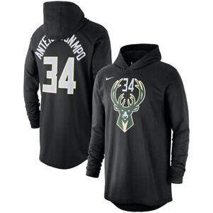 new arrival d5acc 95116 Details about Nike Milwaukee Bucks Giannis Antetokounmpo Name Number Hooded  Long Sleeve Shirt