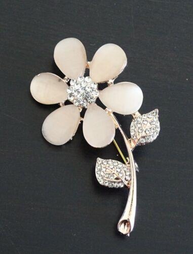Gran Flor de ópalo Plata Diamante nupcial Ramo Broche Pin Totalmente Nuevo Libre P/&P