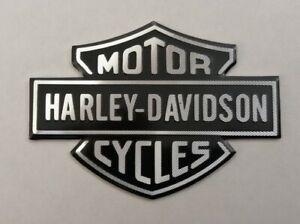 HARLEY-DAVIDSON-3D-METAL-BADGE-STICKER-GRAPHIC-DECAL-LOGO-BLACK-SILVER-SHIELD