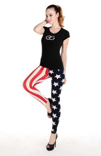 WOMEN LADIES USA FLAG STAR L STRIPE PRINT LEGGINGS TROUSERS SIZE 6,8-10,12-14 UK
