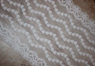 "1 yard White floral wedding lingerie galloon STRETCH LACE 12.5/"" extra Wide"