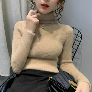 Women Winter Turtleneck Knitted Cashmere Sweater Pullover Sweater
