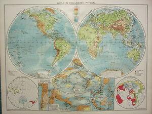1940 Map World In Hemispheres Volcanoes Land Water East Indies