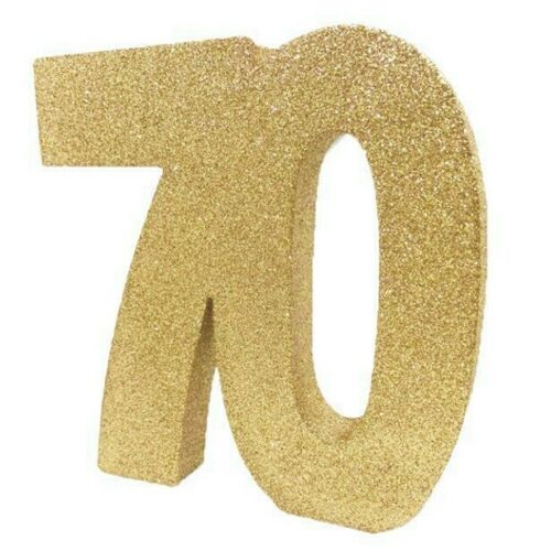 New /& Boxed Gold Glittered Age 70 70th Birthday Table Centrepiece Decoration