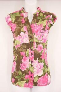 CARIBBEAN-JOE-Shirt-Women-039-s-M-Floral-Print-Cap-Sleeve-Button-Down-Vneck