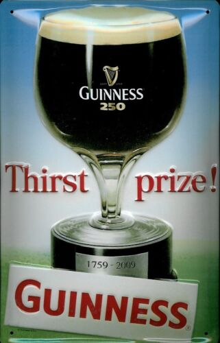 THIRST PRIZE GUINNESS EMBOSSED METAL ADVERTISING SIGN 30X20cm,PUB// IRISH BAR