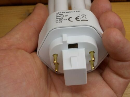 4 Stifte Stäbe Zapfen Pins Bolzen Bolts Lampe Osram DuLux T//E Plus 18w//840 f1b8