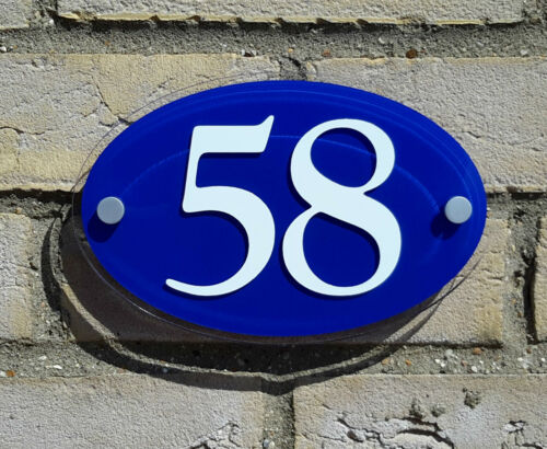 Acrylic Plastic Oval House Number Sign White on Blue Background