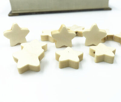 100X Holzfarbe Sternform Holz Spacer perlen Kinder Halskette Schnuller Clip 20mm