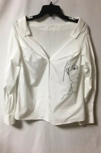 White-blouse-womens-small-long-sleeve-button-down-with-long-v-neck