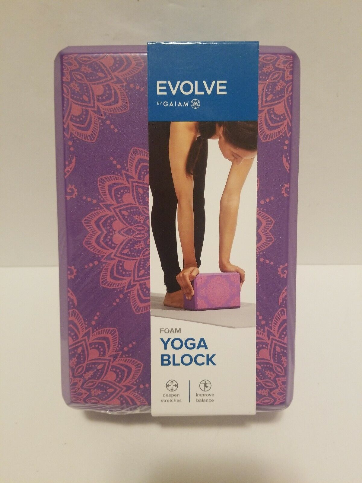 EVOLVE BY GAIAM Foam Yoga Block Purple Improves Balance