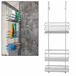 3 Tier Large Chrome Over Shower Door Screen Caddy Hanging Storage Tidy Basket