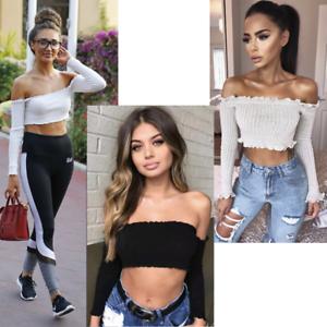 Ladies Off Shoulder Jumper Frill Bardot Ribbed Knit Dress Long Sleeve Crop Top