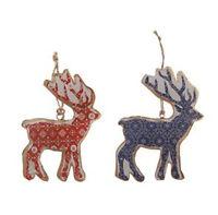 Sasse & Belle Set of 2 Metal Hanging Reindeers - Christmas Tree Decorations