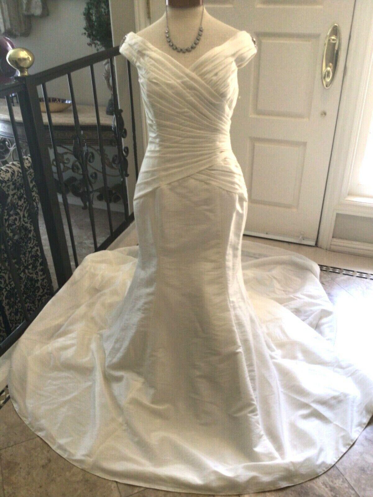 JASMINE Bridal gown Wedding Dress Fit & Flare Mermaid Ivory 10 NEW
