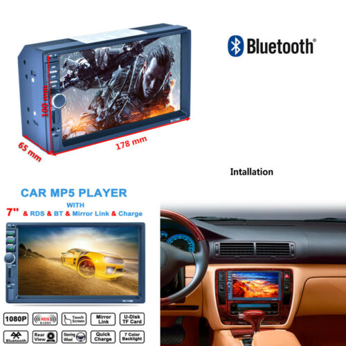 Double 2Din Car MP5 MP3 Player Bluetooth Radio Stereo Touch TFT Screen FM Vedio