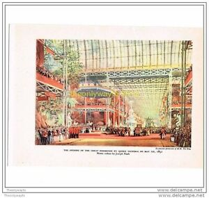 OPENING-OF-THE-GREAT-EXHIBITION-IN-1851-BOOK-ILLUSTRATION-PRINT-1940s