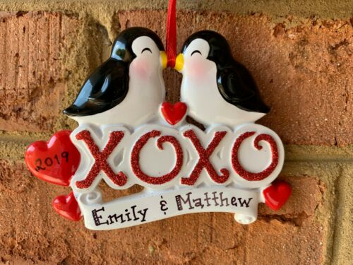 NAME PERSONALIZED XoXo Love Birds Couple Kissing Friends Christmas Ornament