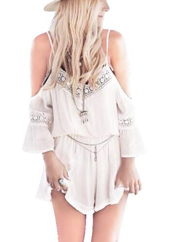 Women/'s Holiday Ladies Lace Flower Jumpsuit Romper Summer Beach Shorts Sundress