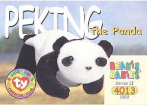 97677dd29e2 TY Beanie Babies BBOC Card - Series 2 Common - PEKING the Panda - NM ...