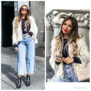 Zara-Neuf-Texture-Beige-Teddy-Bear-manteau-fourrure-taille-XS