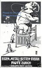 Metallbetten Fabrik Rüti Zürich Reklame von 1909 Elefant Affen Bett Metallbett