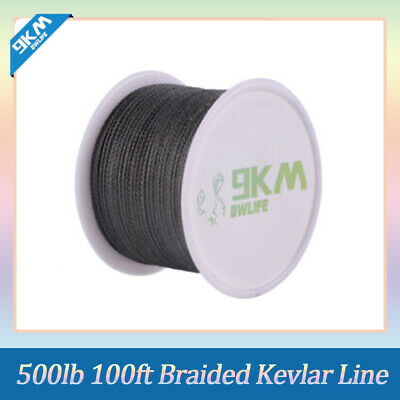 Black 100ft 500lb Braided Kevlar Line for Outdoor Utility Cord Backpacking Cord