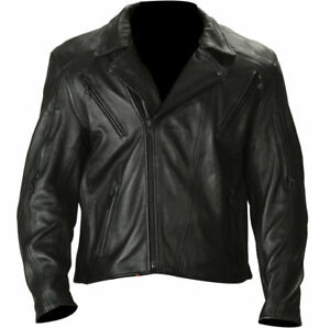 576aeda3b Details about Xelement B4722 Mens Armored Black Soft Thick Naked Leather  Motorcycle Jacket