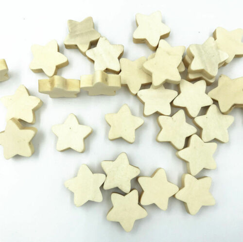 Natural color Wooden Star Loose Beads Necklace Makeing craft Accessories 20mm