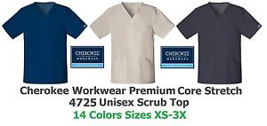 Cherokee Workwear Core Stretch 4725 Unisex Scrub Top Pick Size&Color Ships Free