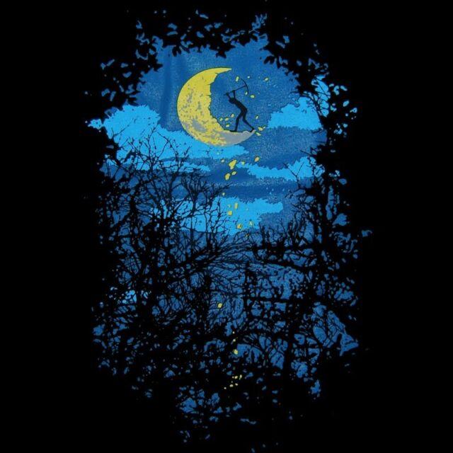 DARK NIGHT Full Moon worker Mens T-SHIRT Lunar half phase banksy party tee S-XXL