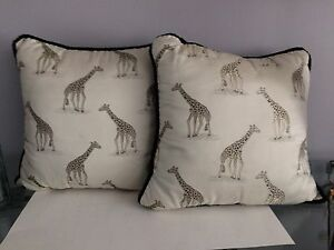 Two Riverdale Identical Giraffe Print Accent Throw Pillows 15 X