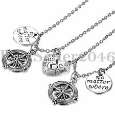 Stainless Steel Heart Puzzle No Matter Where Best Friends Pendant BFF Necklace