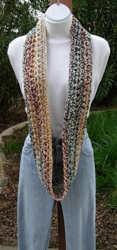 Small Winter Crochet INFINITY SCARF Colorful Oatmeal Red Blue Teal Gray Mustard