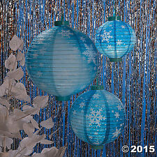 3 Snowflake Light Up Paper Lanterns Create a Unique Winter Wonderland NEW