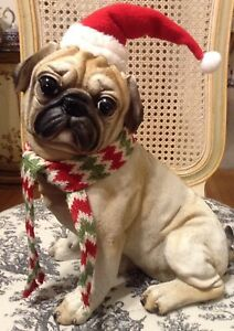 Pug Christmas Figure With Santa Hat and Scarf Super Cute! 11