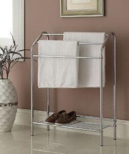 Towel-Rack-Stand-Chrome-Bathroom-Storage-Floor-Holder-Metal-Free-Standing-Bath