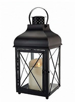 "Luminara 15"" BLACK CHURCHILL Indoor/Outdoor Flameless Candle Lantern w/Timer NEW"