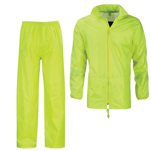 Mens Waterproof Suit Jacket /& Trouser Bottom Rain Set Womens Adults  Mens Size