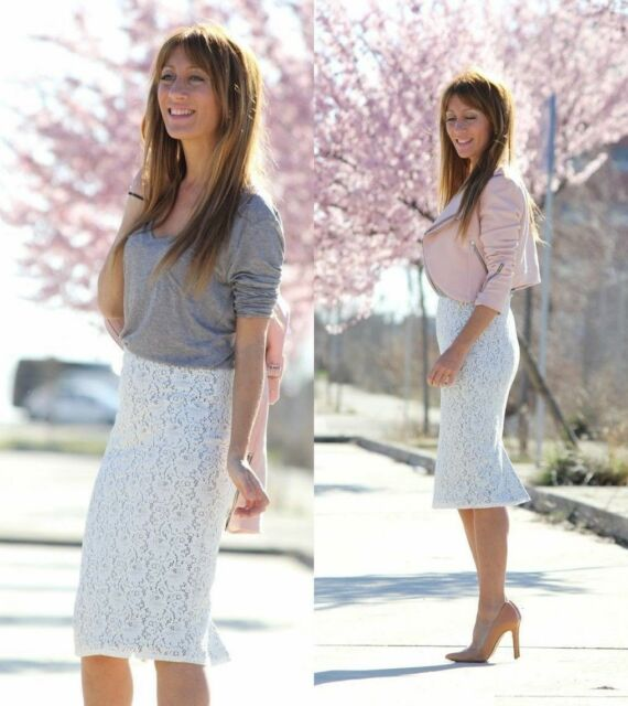 ZARA BLOGGERS OFF WHITE LACE PENCIL PARTY SKIRT SIZE L LARGE