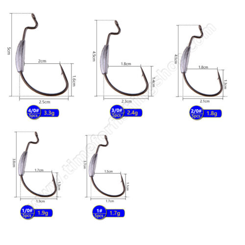 Offset Hooks Weighted Weedless Worm Pike Perch Fishing Tackle Soft Lures Bait