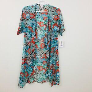 Lularoe-Shirley-WOMEN-039-S-Top-Cardigan-Taglia-S-Kimono-Coverup-Sheer-floreale-color-foglia