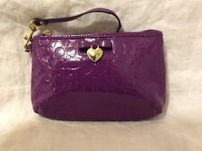 Gorgeous Purple Patent Leather Coach Wristlet Bow With Heart