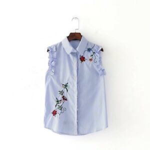 9583eddc3a0f3 Image is loading Womens-Striped-Print-Floral-Embroidered-Sleeveless-Ruffled- Blouse-