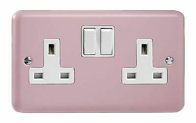 Varilight XY5W.RP Lily Pastel Rose 2 Gang Double 13 A Switched Plug Socket